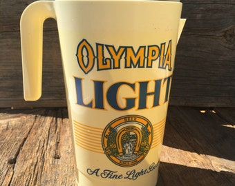 Olympia Light Pitcher, Plastic Beer Pitchers, Olympia Beer, Beer Pitcher