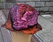 Felted hat, cap, wool, felting, black, brown, silk, beads