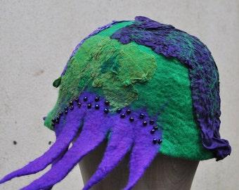 SALE - Felted hat, cap, wool, felting, purple, green, silk, beads