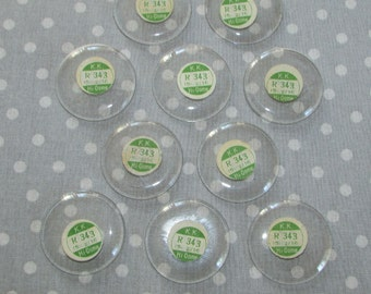 Lot of 10 Round Large Watch Maker Domed Crystal Glass Face Fairy KK Japan Window Upcycle Jewelry Parts 343 (H)