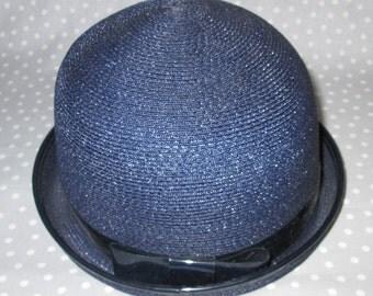 PRICE DROP! Child Size Vintage Hat Straw Dark Blue Band by Linda Anne Cap Spring Bonnet Photo Prop