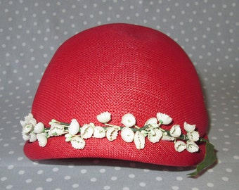 Child Size Vintage Hat Straw Red with White Lily of the Valley Flowers Cap Spring Bonnet