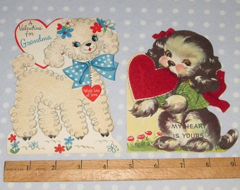 CUTE Large Vintage Valentine Lot of 2 Cards Flocked Lamb Sheep Puppy Dog Foldable Hallmark Whit (Y)