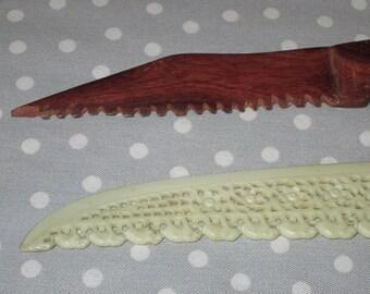 Vintage Letter Opener Plastic Elephant and Wood Carved Knife
