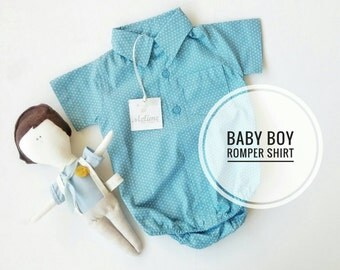 Baby Boy Shirt Bodysuit, Blue Polka dots Bodysuit shirt for little boy, Little boy summer outfit, Baby Boy Onesie