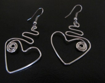 Funky silver wire wrapped heart earrings with spirals
