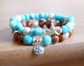 Ocean Gemstone Bracelet, Sea Starfish jewelry, for Beach, Blue Amazonite, Boho, Bohemian, Sterling silver Sand Dollar, stretch bracelet