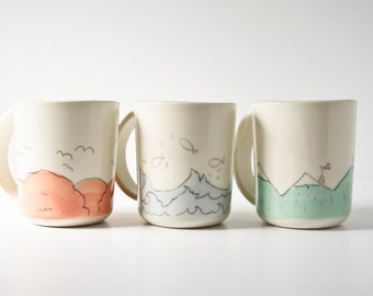 unique mug set, gift for new home, pastel white whimsical ceramic cups, large coffee cups, white porcelain cups, wedding pottery set