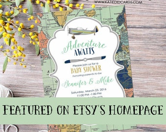 Adventure awaits baby shower invitation vintage airplane map birthday shabby rustic chic burlap sip see mint navy 12124 diaper world couples