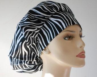 Medical Bouffant Scrub Hat Wild Thing Zebra with a Matching Headband