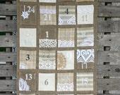 Vintage feel burlap Advent calendar