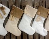 Christmas stockings, Burlap and lace stockings, white, ivory, vanilla , personalized stockings, family stockings