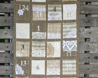 Vintage feel burlap Advent calendar