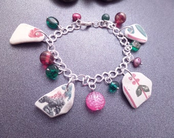 Scottish Floral Sea Pottery Bracelet in Pink and Green, Broken China Jewelry,  Gift From Scotland, Rustic Pottery Charms