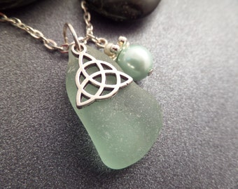 Celtic Knot Necklace with Mint Green Scottish Sea Glass and Pearl, Jewelry from Scotland