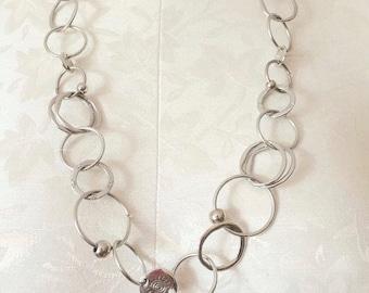70's Vintage Silver Circles Monet Necklace