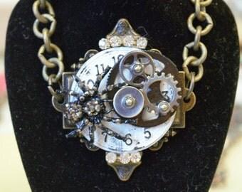 Steampunk watch face gears rhinestones black and rhinestone spider 24 in chain necklace