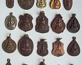 20 Thai Buddhist Buddha Buddhism Lucky Charms Pendants Set Blessed Brass Medallions