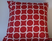 Red pillow cover.