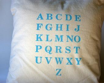 Blue Alphabet Pillow Cover