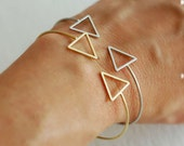 Gold Triangle Bangle Bracelet, geometric arrows skinny delicate adjustable stacking metal cuff modern birthday gift