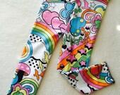 Rainbow Burst Baby Toddler Kids Girls leggings colorful retro print stretch pants birds flowers stars Size 3 6 9 12 18 24 months 2T 3T 4T 5T