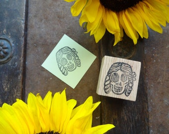 Day of the Dead Hand Carved Stamp: Girl with Braids, Halloween, Dia de Los Muertos, Paper Craft, Rubber Stamp, Fall, Autumn, Sugar Skull
