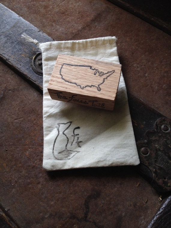 Usa hand carved outline stamp united states america
