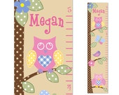 Owl Childrens Growth Chart  Canvas  Bird Tree nursery decor