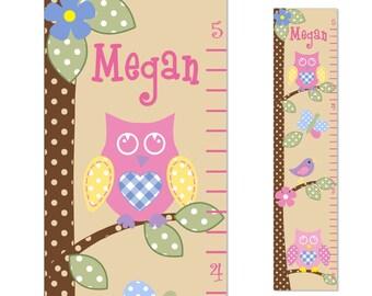 Owl Childrens Growth Chart  Canvas  Bird Tree nursery decor