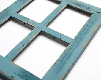 2 4 hole 5x7 barn window collage picture frame ocean blue distressed frame - Window Collage Frame