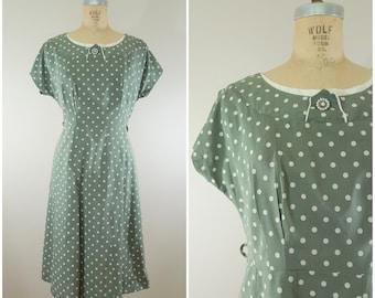 Vintage 1940s Dress / Sage Green and White Polka Dots / Medium Large