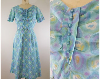 Vintage 1950s Dress / Pastel Watercolor Day Dress / Medium