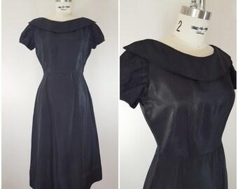 Vintage 1950s Dress / Teena Paige / Little Black Dress / Tafetta Dress / XS