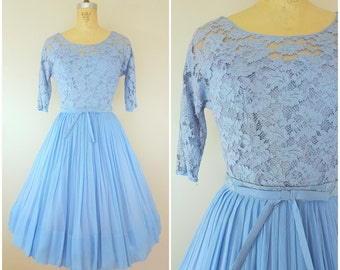 Vintage 1950s Lace Dress / Baby Blue / R&K Originals / Small
