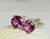 Pink Topaz Earrings Studs Earrings Sterling Silver Handmade Jewelry Handmade Jewelry