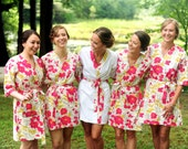 Bridesmaid Robes. Kimono. Bridal Robe. Bridesmaid Robes. Kimono Robe. Wedding. Bridesmaid's Gifts. Floral Collection. Knee Length.