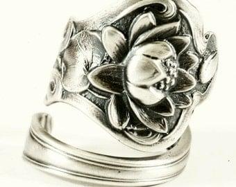 Graceful Lotus Ring, Lotus Flower Ring,Sterling Silver Spoon Ring, Water Lily Ring, Water Flower, Floral Ring, Adjustable Ring Size (5848)