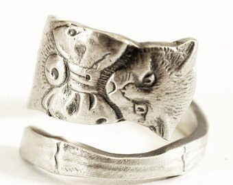 Cat Spoon Ring, Kitten Sterling Silver Ring, Kitty Ring with Bow, Boho Ring, Cute Animal Ring, Handmade Gift, Custom Ring Size (5481)