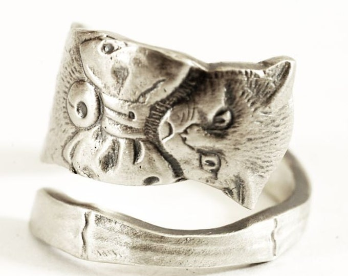 Cat Spoon Ring, Kitten Sterling Silver Ring, Kitty Ring with Bow, Boho Ring, Cute Animal Ring, Handmade Gift, Custom Ring Size (5570)