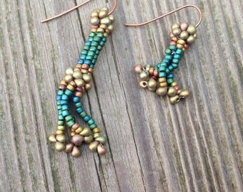 Teal and Bronze Herringbone Beaded Earrings