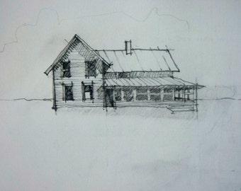 pencil drawing of house, sketch, original drawing, original pencil drawing