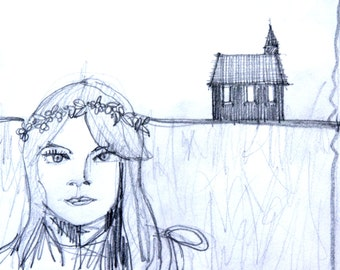 pencil drawing of girl and church, sketch, original drawing, original pencil drawing