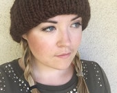 Wide brim knit cap - ROLF - chunky knit brown textured wool blend