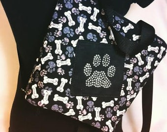 Dog Bone Dog Paws Rhinestone Paw Hiking Backpack Dog Walk Dog Hike Bag
