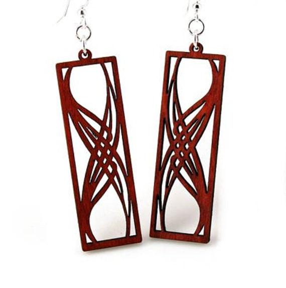 Rectangular elegance - Laser Cut Earrings from Reforested Wood