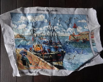 Vintage French Royal Paris Cross Stitch Fishing Boat Harbour Lighthouse Fishing Tapestry Wall Hanging Picture circa 1985 / English Shop