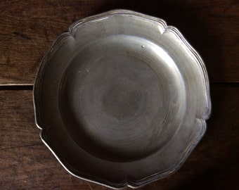 Antique French pewter metal dinner plate circa 1800-1900's / English Shop
