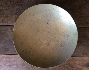 Vintage Asian large dragon brass metal deep plate catch all bowl dish plate circa 1950-60's / English Shop