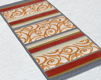 Orange and gray modern patchwork table runner